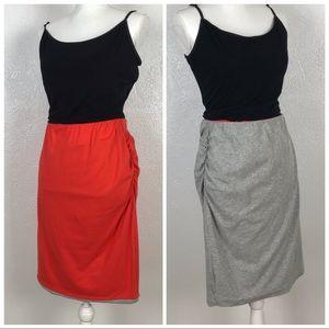 CAbi | Reversible Tube Skirt Grey Coral | Large